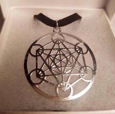 Metatron's Cube CHOKER Black Velvet SilverPlated Sacred Geometry PARAGON