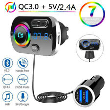 Bluetooth Car Kit for Hands-Free Calling Wireless Receiver Adapter Dual USB Aux