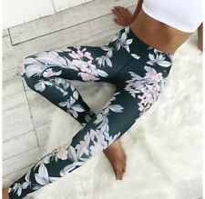 Ladies Forest Green Floral Yoga Gym Pants Leggings Girls LARGE L Fitness Running