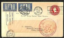 USA SCOTT U436g ERROR STATIONERY & 619 STAMPS FIRST FLIGHT COVER 1926