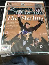 Josh Beckett signed 2003 sports illustrated magazine Florida Marlins PSA DNA NL