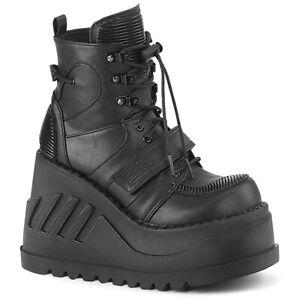 Demonia STOMP-13 Black Vegan Leather Bikers Lace Up Women's Platform Ankle Boots