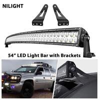 "54"" Curved LED Light Bar with Mount Bracket fit for 99-06 Chevrolet Yukon Sierra"