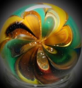 Rick Davis~Swirly~Earth Tone Flower~Glass Marble 2011~SIGNED~42MM/1 & 1/2""