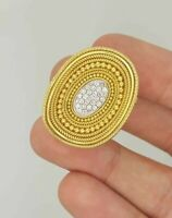 VINTAGE 18K YELLOW GOLD ROUND CUT DIAMOND COCKTAIL CLUSTER BEAD FLOWER RING VS