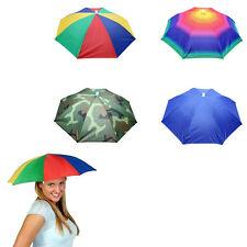 Women Men Umbrella Hat Cap Foldable Hats Head Band Shade Sports Camping Rain Sun