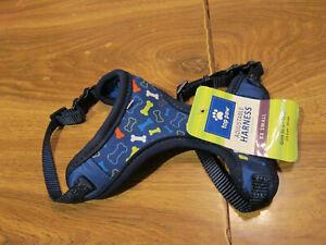"Top Paw Adjustable Dog Harness blue colorful dog bones XXS Girth 10""-13"""