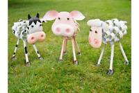 Cute Metal Farmyard Animal Ornament Pig Cow Sheep Scrolled Statue Lawn Figure