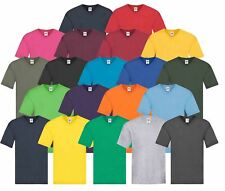 Fruit Of The Loom Mens Original Plain Rib V-Neck T-Shirt 100% Cotton