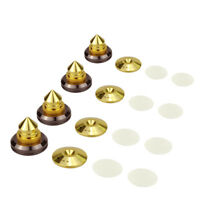 4x Speaker Spike + Pad Base CD Audio Amplifier Isolation Cone Stand Feet Brass