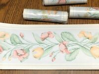 4 Rolls Pastel Wall Paper Border Tulip Floral 5 inch x 5 yards New In Package