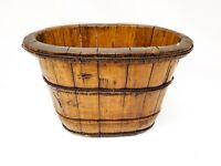 Antique Wooden Bucket Oval Shallow Planter Bin Unique Rustic Home Decor