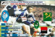 """BILLET MATCH DE RUGBY """"FRANCE / AFRIQUE DU SUD / 7 DECEMBRE 1996"""""""