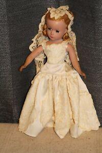 "Vintage Madame Alexander 14"" Hard Plastic Bride Wedding Dress Doll Red Hair"