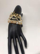NEW! Faux Pearl Rhinestone Beaded Bracelet Lot of 5