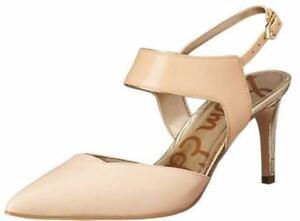 Women's Sam Edelman OLA Slingback Pumps Sandals Pointed Toe Leather Nude