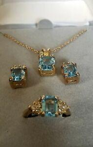 Vintage 18k Gold Filled Emerald Cut Genuine Blue Topaz Jewelry Suite