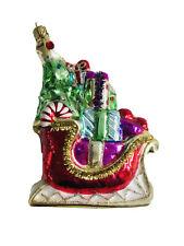 5 In Santa Sleigh Molded Glass Christmas Ornament