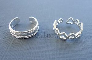 One Toe ring silver plated heart / plain/ love  Adjustable jewelry N46
