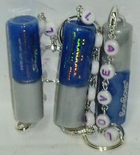 3 BON BONS  Lip Gloss With LOVE TEXTED Beaded Key Chain BLUEBERRY Sealed