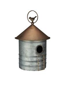 Zeckos Galvanized Metal Farm Silo Hanging Birdhouse Bird House