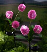 Plow & Hearth Solar Decor Pink - Pink Floral LED Solar Garden Stake - Set of Two