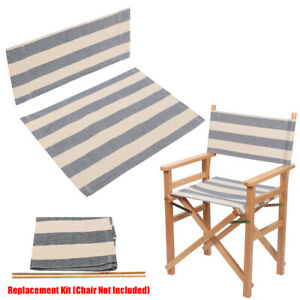 Gray Blue Stripe Casual Directors Chairs Cover Replacement Canvas Seat Covers