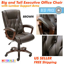 High Back Leather Executive Office Computer Boss Luxury Chair Arm Pads Brown New
