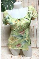 Kaua'iana Hawaii Hawaiian Print Blouse Top Womens Medium Green Tropical Floral