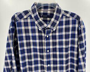 Men's Button Up Shirt Size L Blue Antique White Plaid Cremieux Cotton Top New