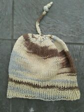 Handmade Beige and Blue Cotton Hat