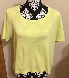Chico's Size 1 Womens Short Sleeve Cotton T Shirt Yellow Cotton