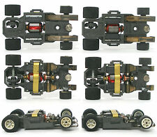 2pc 1982 Aurora AFX G+ G-PLUS Slot Car WHITE Wheel WIDE CHASSIS Bench Tested Dul