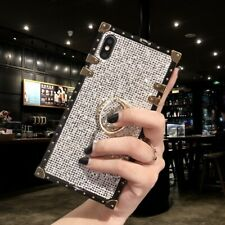 Bling Glitter Diamond Ring Stand Square Case For iphone 11 Pro Max 7 8 X XS MAX