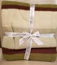 Northpoint Indulgent Twin Size Bed Blanket ~ Green Brown Stripe ~ Anti-Pill~ NEW