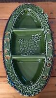 Vintage Pottery Green Glaze Ceramic GRAPE Leaf Nut Candy Relish Dish Reticulated