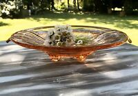 Antik Art Déco Pressglas Schale Rosalin Rosa Glas große Obstschale Rosalinglas