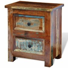 Reclaimed Solid Wood Bedside Cabinet with 2 Drawers Vintage Rustic Antique