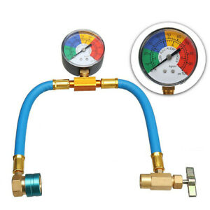 A/C Car Air Conditioning Refrigerant Gas Pressure Gauge R-1234yf Hose Valve Kit