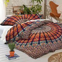 Handmade Cotton Quilt Peacock Mandala Bedspread Throw Boho Doona Duvet Cover Set