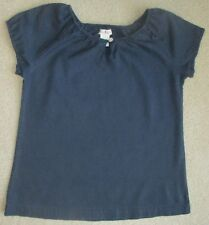 OLIVE JUICE Size 10 Girls Navy Blue Short Sleeve Linen Shirt **READ**