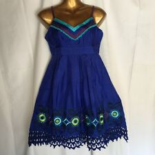 NEW Sugar Lips Dress M 8 10 Blue Silk Lace Embroidered Party Cocktail Chic 2M74