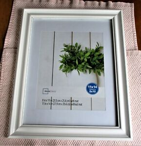 MAINSTAYS, GLASS, WHITE WOOD PICTURE FRAME, 11X14 MATTED TO 8X10. NEW.