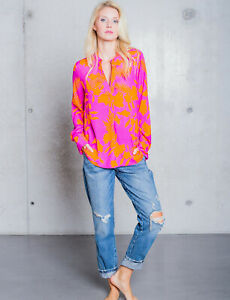 Emily van den Bergh modische Bluse Pink-Orange 100% Viskose Mode NEU