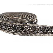 1y Beaded Rhinestones Applique Trim Chain Iron on Hotfix Crystal Reel Costume