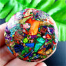 Wholesale Rainbow Sea Sediment Jasper & Pyrite Round Pendant Bead H-CSDHS15