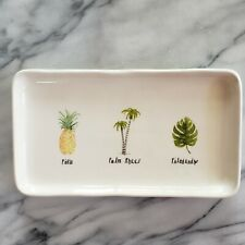 New RAE DUNN Collection Magenta PINA PALM TREES FILODENDRO Tray Plate Pineapple