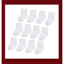 12 PAIR Newborn Infant Baby 0-6 Months White Socks EK80002 NEW