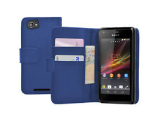 Blue Wallet Flip Case Cover per Sony Xperia M / C1904 / C1905 Experia