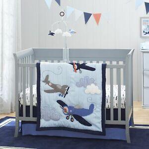 Carter's Take Flight Airplane 4 Piece Nursery Crib Bedding Set, Baby Boy Blue,